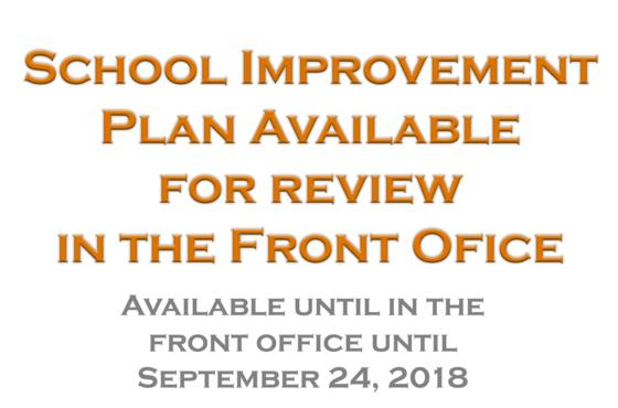 School Improvement Plan Available for Review
