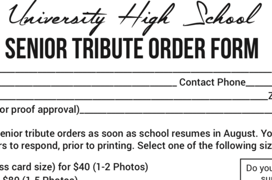 Order your senior tribute while you can